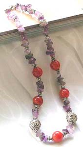 Wholesale gemstone jewelry, genuine amethyst and agate gemstone Bali silver bead necklace handmade in Bali Indonesia