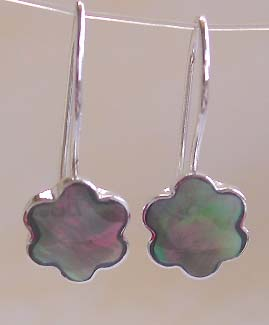 Summer jewelry showcase, sterling silver hook earring with flower abalone seashell