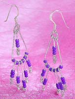 Wholesale beaded earring, sterling silver fish hook earring with multi blue beads