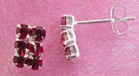 Earring silver jewelry online shop, sterling silver earring with six mini red cz inlaid