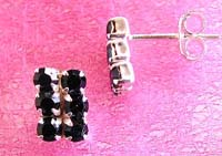 Wholesale earring catalog, stud silver earring with six black mini cz