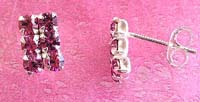 Wholesale crystal earring, sterling silver stud earring with six mini purple cz inlaid